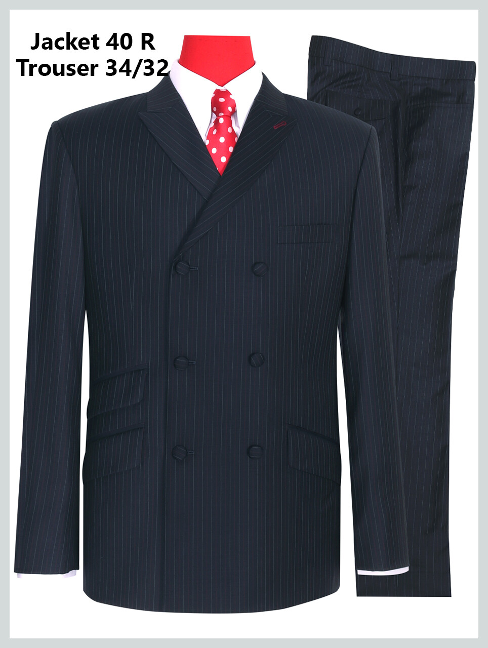Double Breasted Navy Blue Striped Suit Jacket 40R & 34/32 Trouser