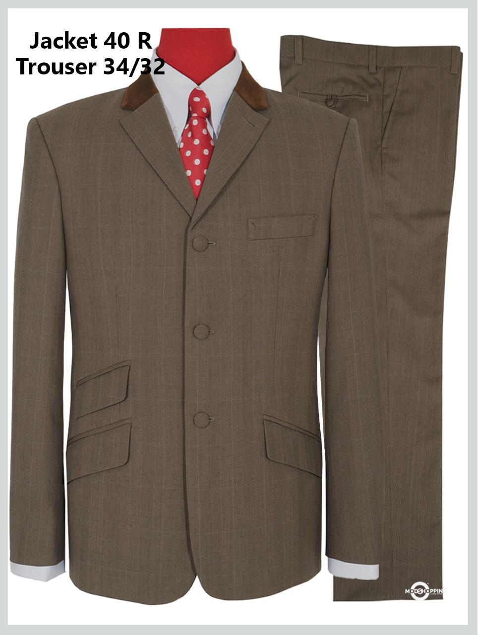 Brown Pow Check  Suit Jacket 40R & 34/32 Trouser