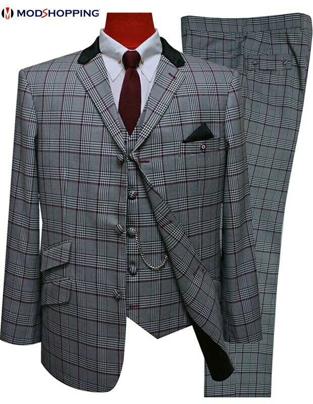 3 Piece Suit | Grey Prince of Wales Check Suit