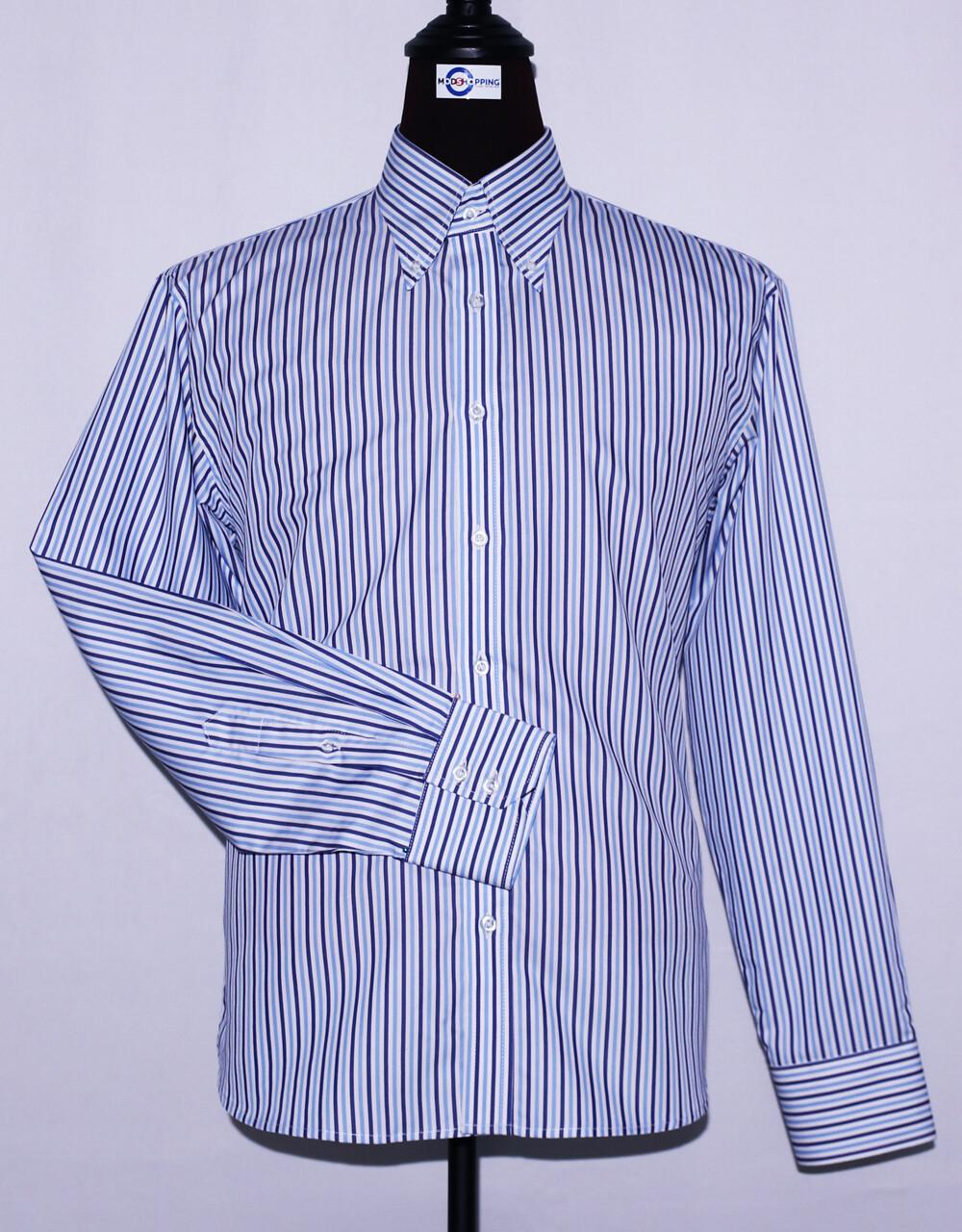 Sky Blue And Navy Blue Striped Dress Men's Shirt