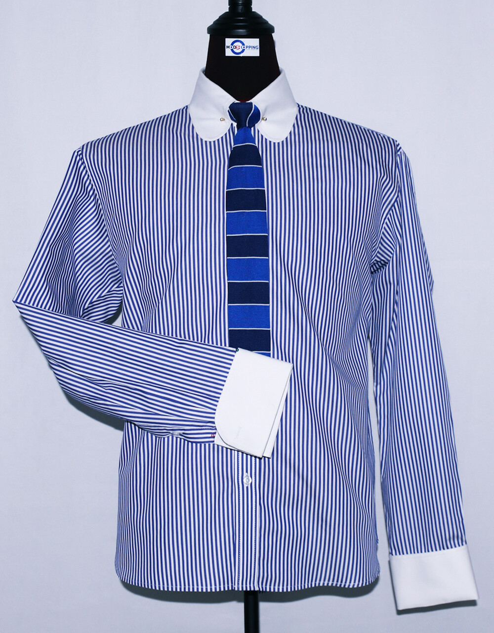 Pin Collar | Blue And White Striped Dress Mens Shirt