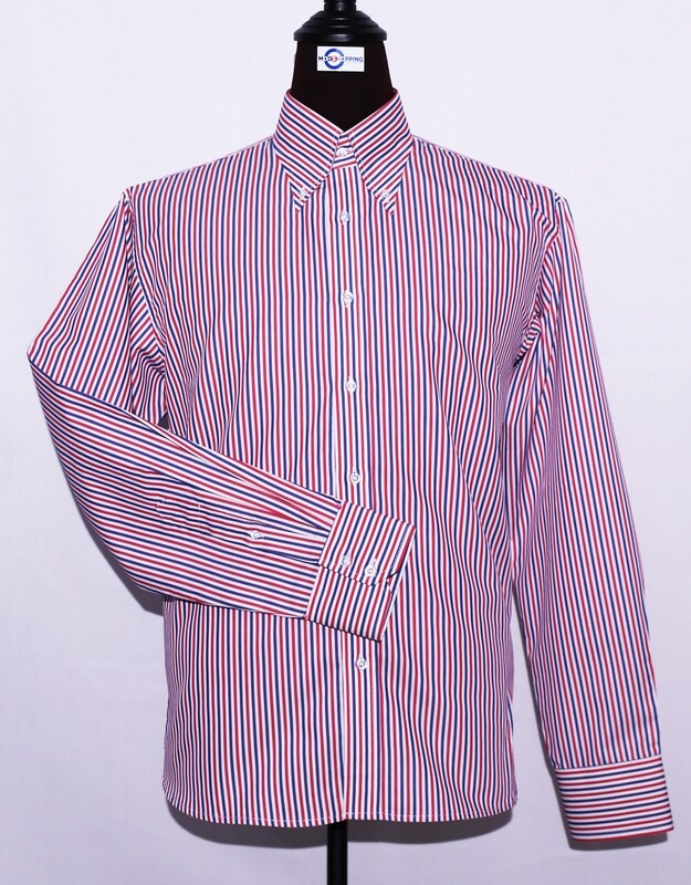 Red, White, And Navy Blue Striped Dress Mens Shirt