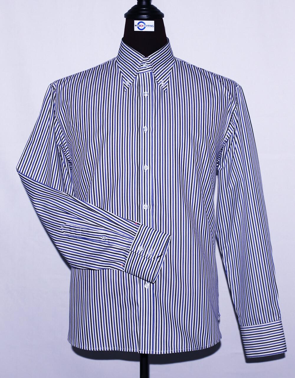Black, White, And Blue Striped Dress Mens Shirt