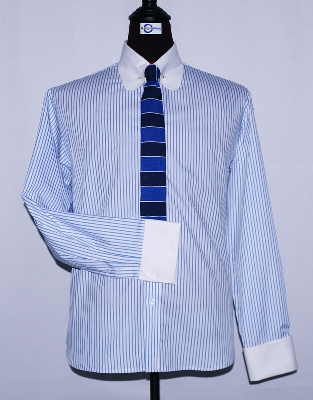 Pin Collar | Sky Blue And White Striped Dress Men Shirt