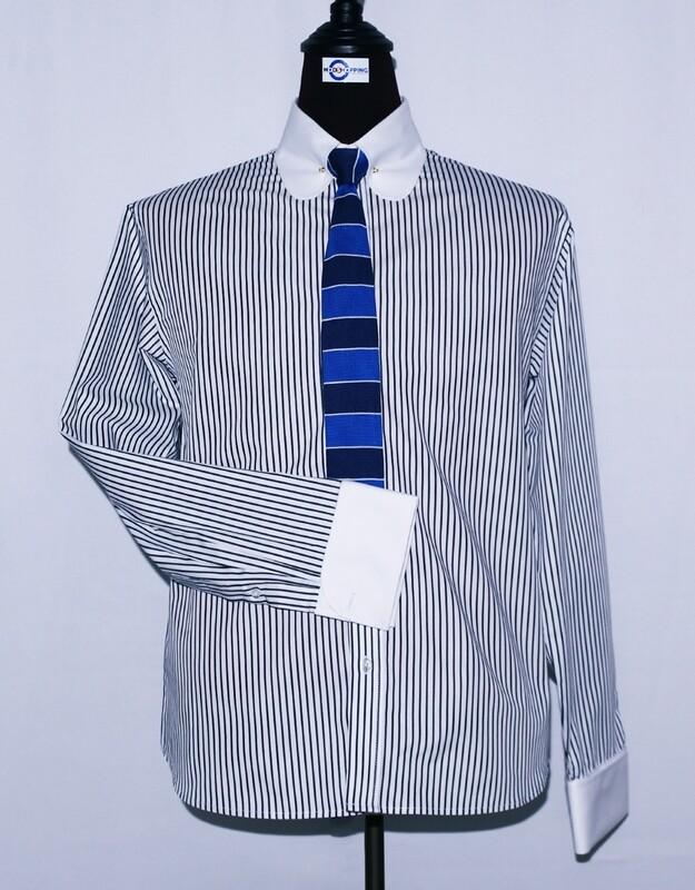Pin Collar | Black And White Striped Drees Men's Shirt