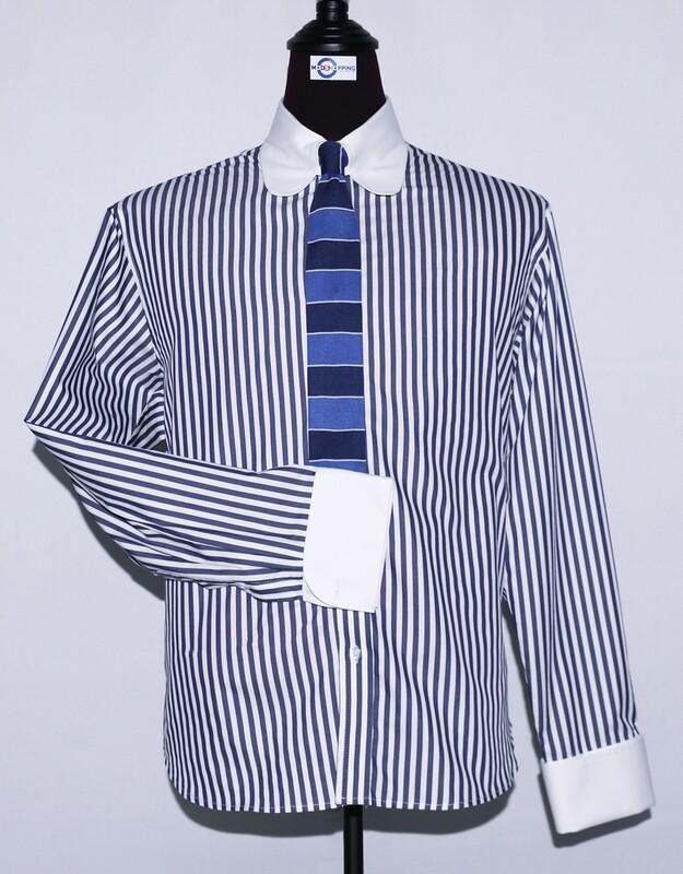 Tab Collar | Navy Blue Striped Dress Mens Shirt