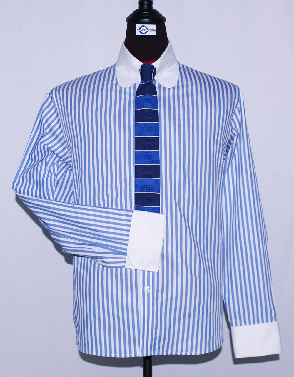 Tab Collar | Sky Blue Stripe Drees Mens Shirt