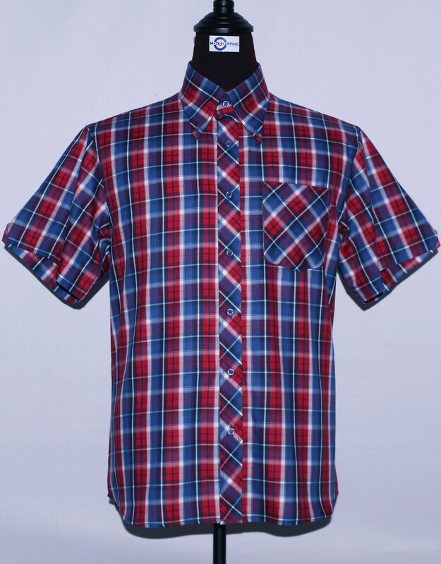 Mens Short Sleeve Blue And Red Plaid Shirt
