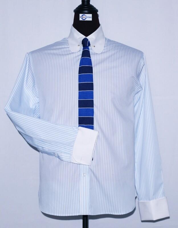 Pin Collar | Light Blue And White Striped Dress Men's Shirt
