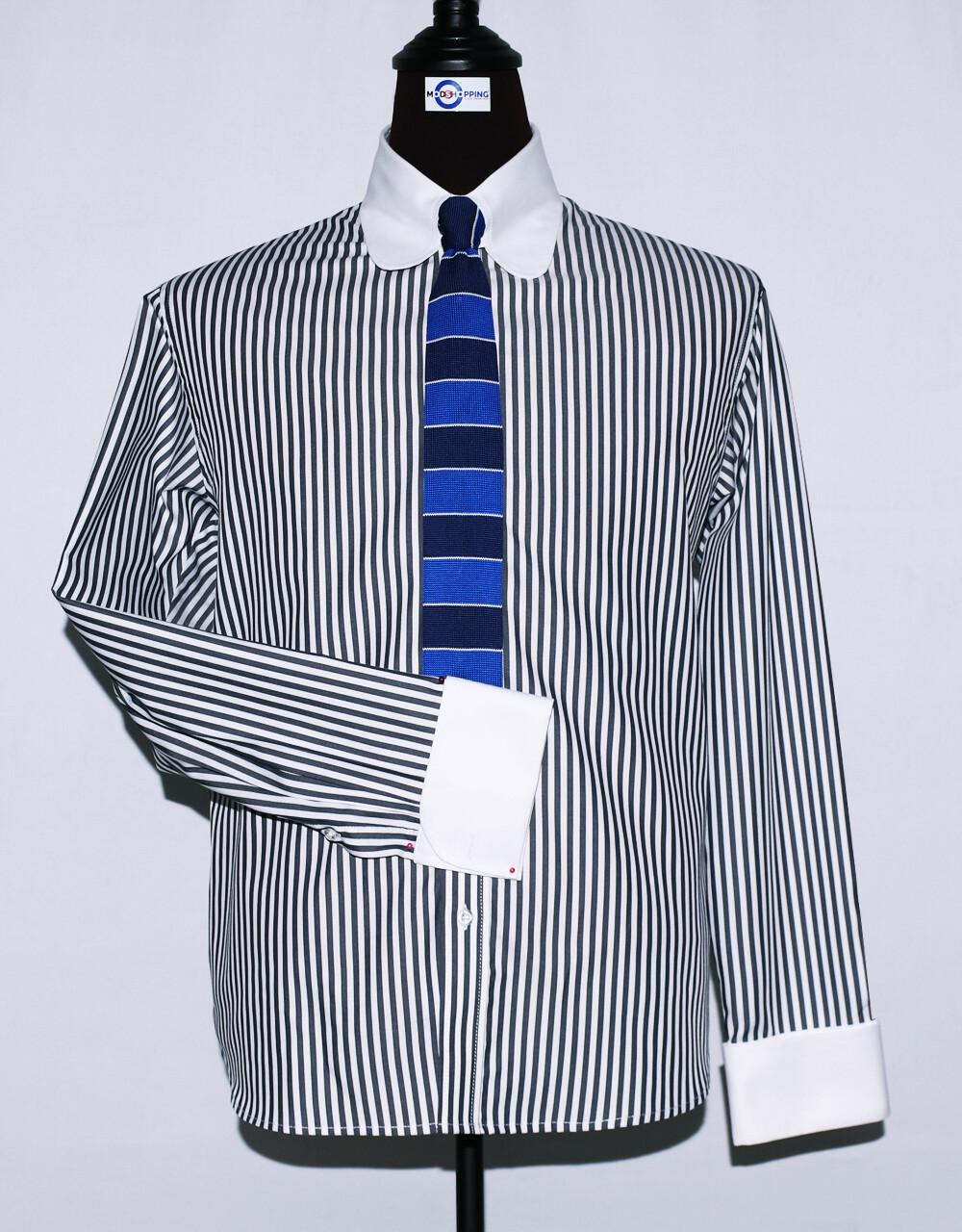 Tab Collar | Black Striped Dress Men's Shirt