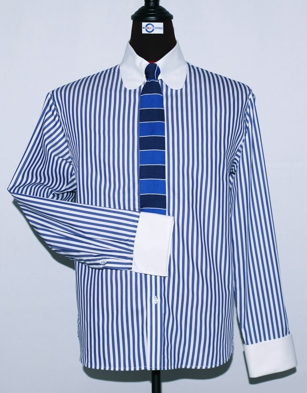 Tab Collar | Blue Striped Drees Men Shirt