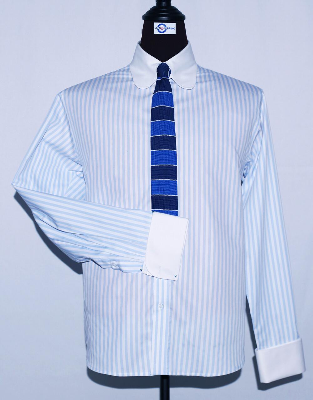 Tab Collar   Light Blue Striped Dress Men's Shirt
