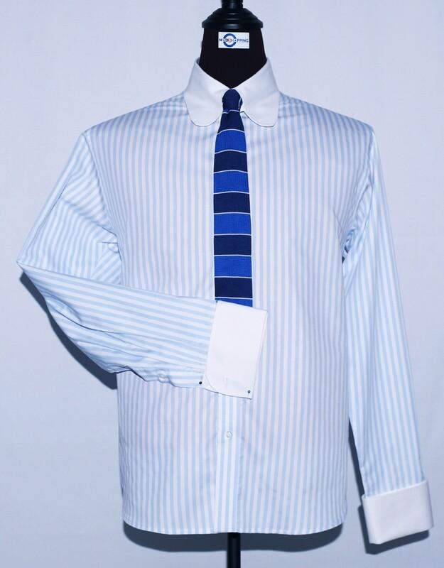 Tab Collar | Light Blue Striped Dress Men's Shirt