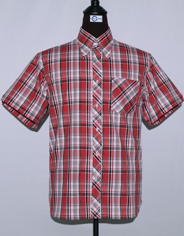 Mens Short Sleeve Red And White Plaid Shirt