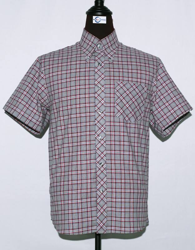 Mens Short Sleeve Grey And Red Plaid Shirt