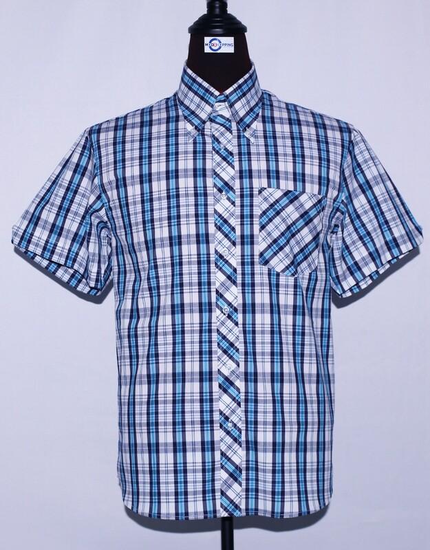 Mens Short Sleeve Blue And White Plaid Shirt