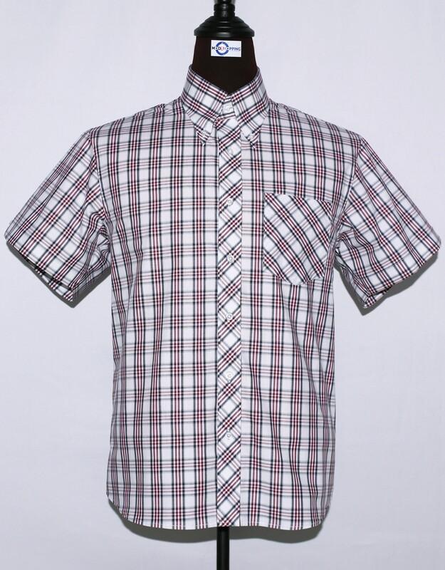 Mens Short Sleeve White And Burgundy Plaid Shirt