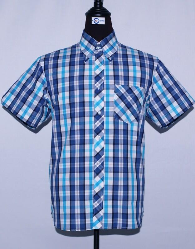 Mens Short Sleeve Blue And Sky Blue Plaid Shirt