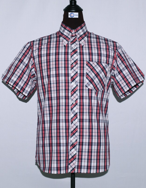 Mens Short Sleeve White And Red Plaid Shirt