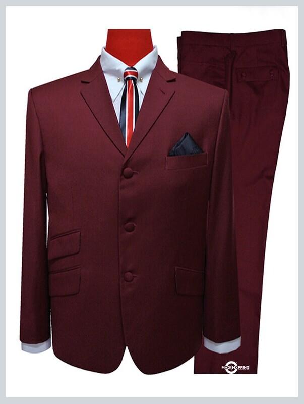mod suit   burgundy suit for men,tailored 3 button