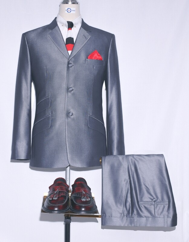 Mod Clothing|Mod Fashion Tailored 60s Silver Tonic Suit For Men