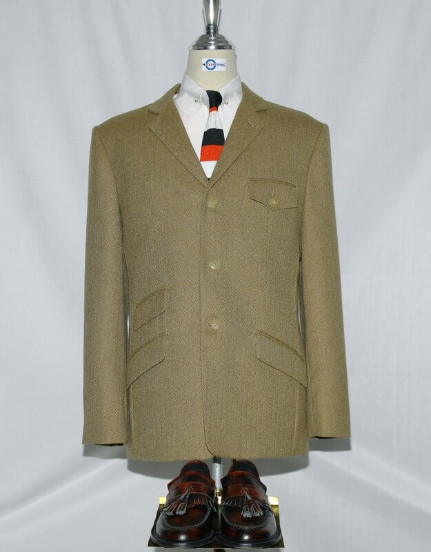 Tweed Jacket | Khaki Herringbone Tweed Jacket