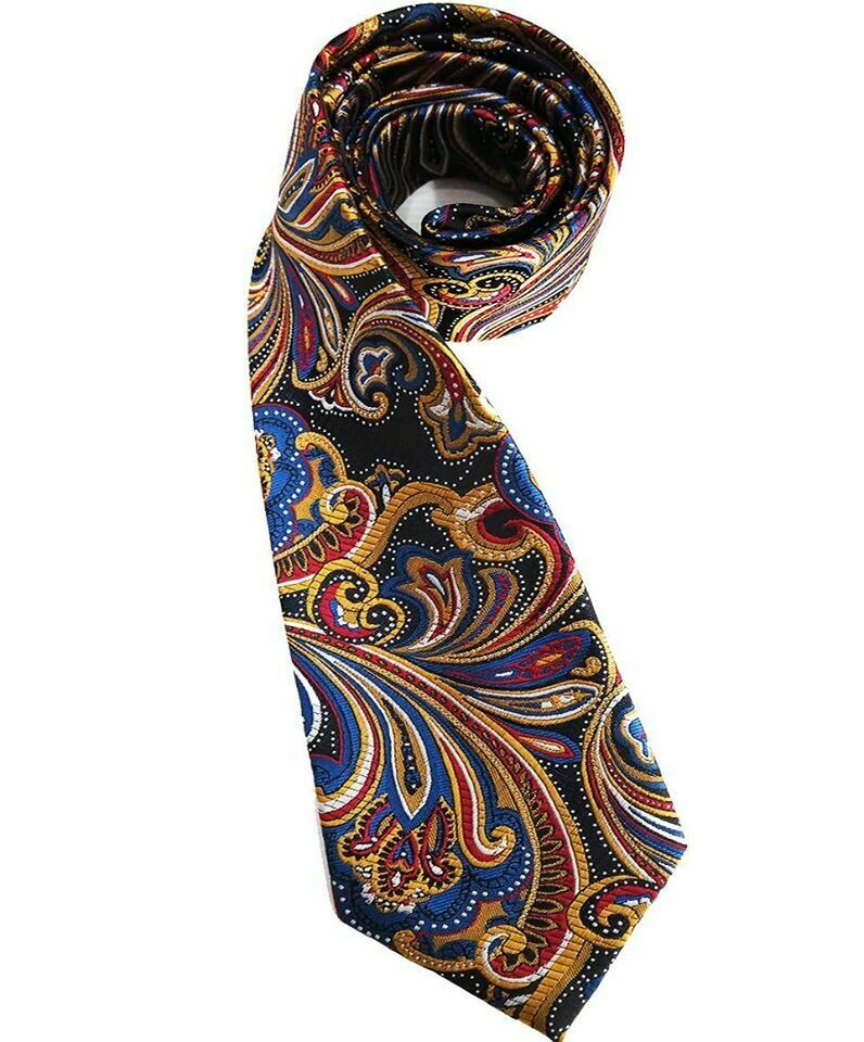 Paisley Tie 100% Silk Retro Mod Style Multi Color