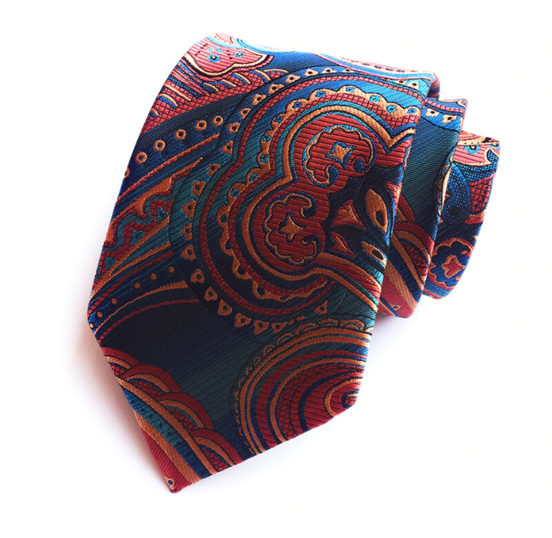 Necktie And Pocket Square Multi Color Paisley