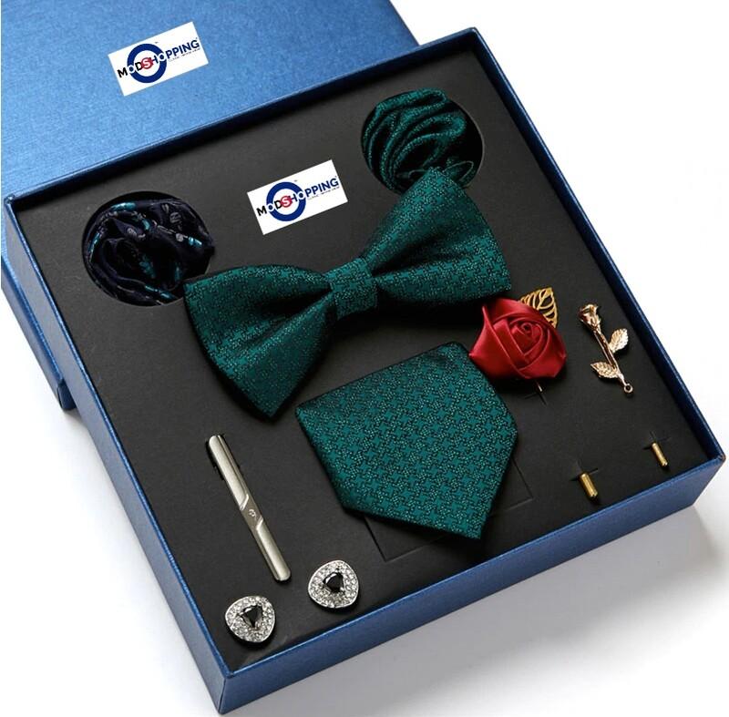 "Men""s Neck Tie Set 8 Pec Green Color"