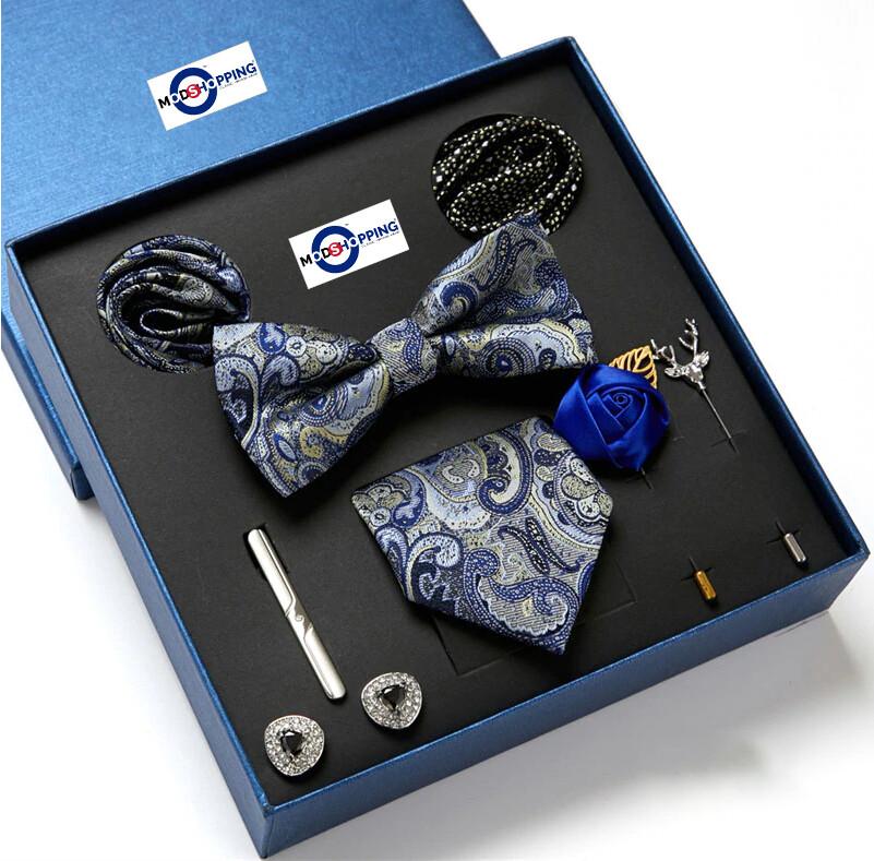 Men's Neck Tie Set 8 Pec Grey Paisley Tie