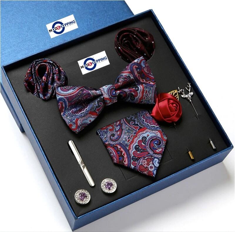 Men's Neck Tie Set 8 Pec Purple Paisley Tie