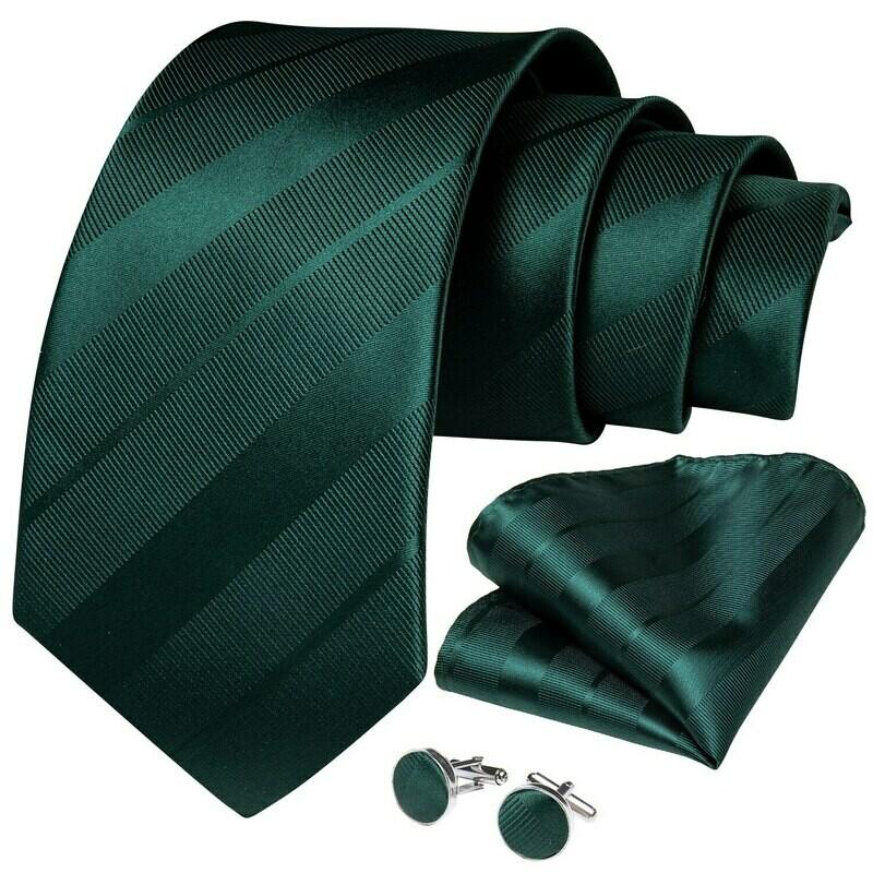 Green Striped Necktie Pocket Square And Cufflinks Set