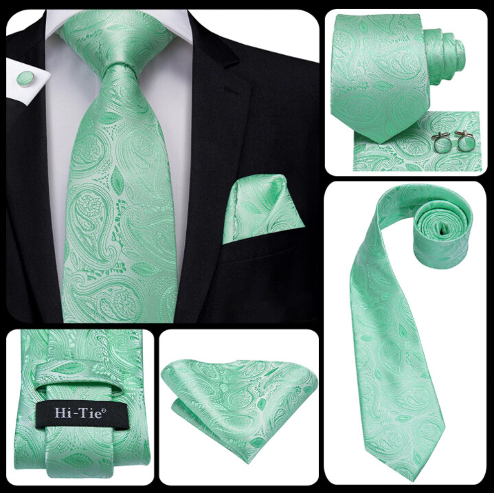Men's Light Green Paisley Necktie Set