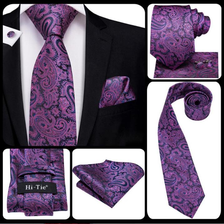 Men's Purple And Black Paisley Necktie Set