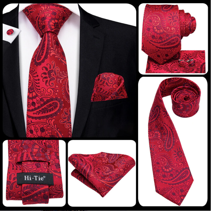 Men's  Red And Burgundy Paisley Necktie Set