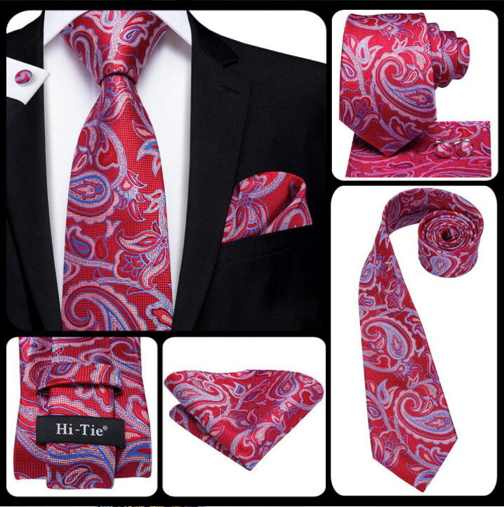 Men's Red And Sky Blue Paisley Necktie Set