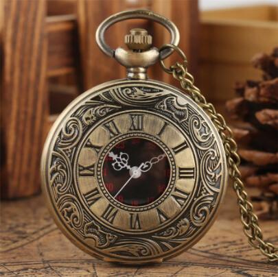 Vintage Pocket Watch Bronze Roman Numerals