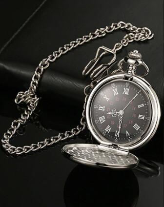 Vintage Pocket Watch Silver And Black Color