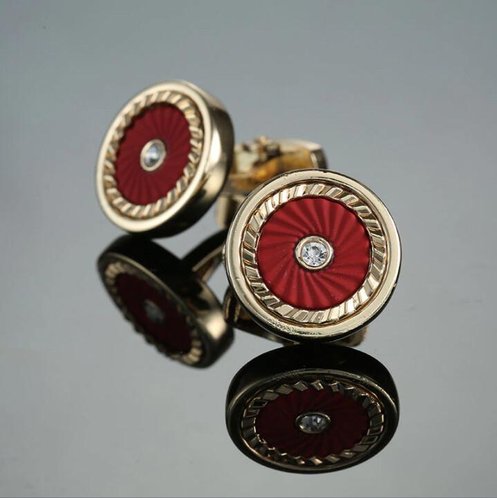 Round Red And Yellow Gold Cufflinks