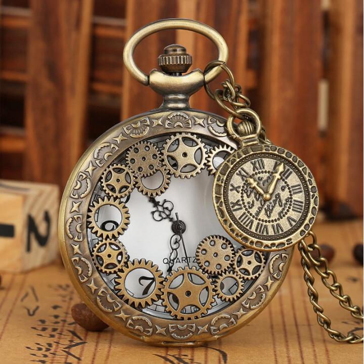 Pocket Watch Chain Bronze Hollow Gear Analog Display