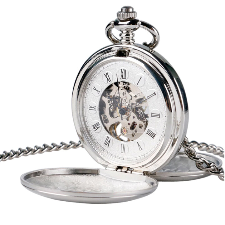 Pocket Watch Chain Silver Double Hunter