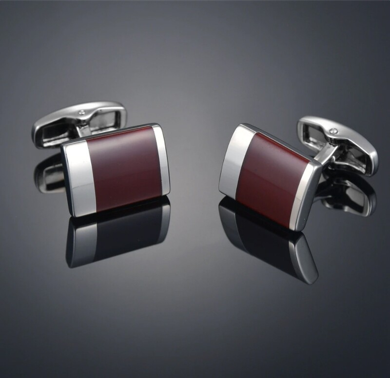 Brown And Silver Cufflinks For Men's