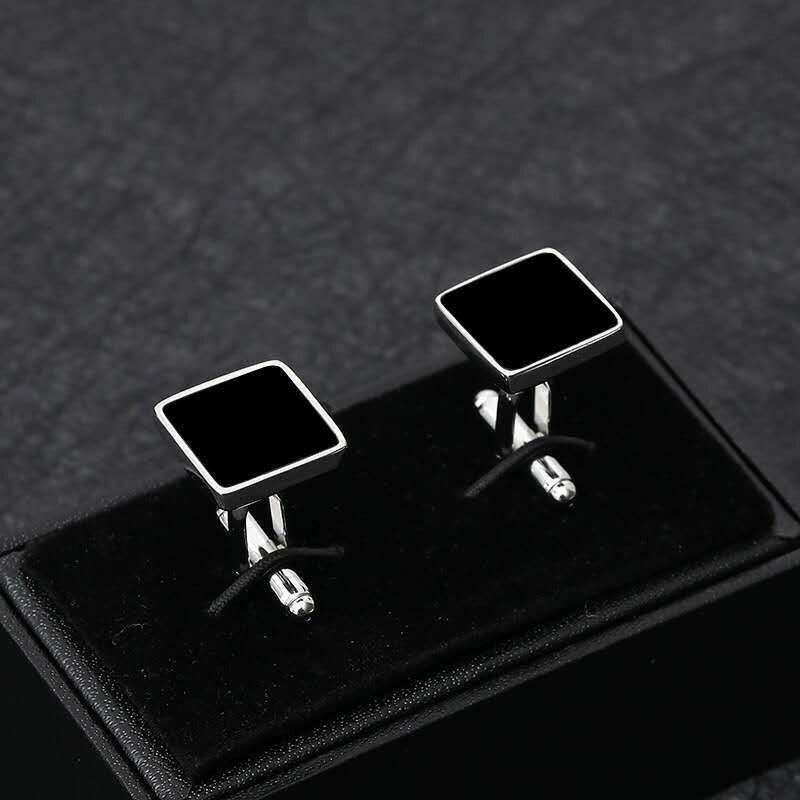 Square Black Stone Cufflinks For Men