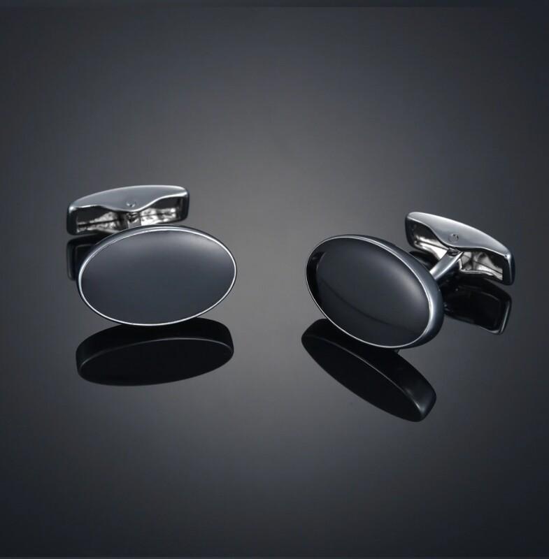 Oval Black Stone Cufflinks For Men's