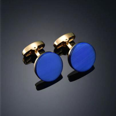 Round Blue Stone Cufflinks For Men's