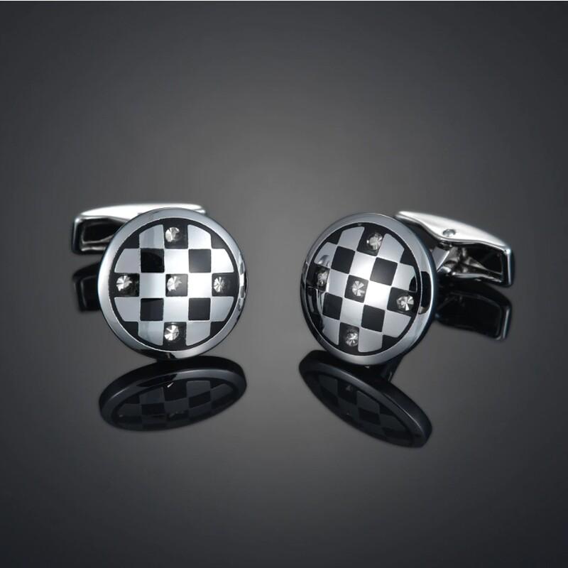 Round Silver Black Cufflinks For Men's