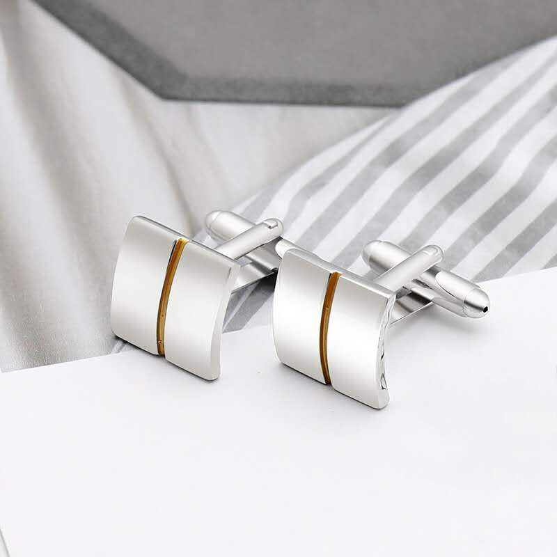 Silver Divided Yellow Gold Square  Cufflinks