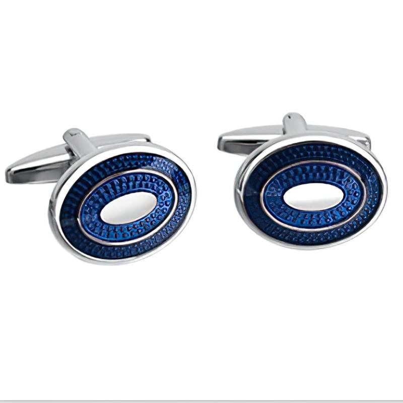 Luxury Men's Oval Blue Crystal Cufflinks