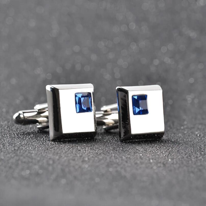 Square Blue Crystal Cufflink For Men's
