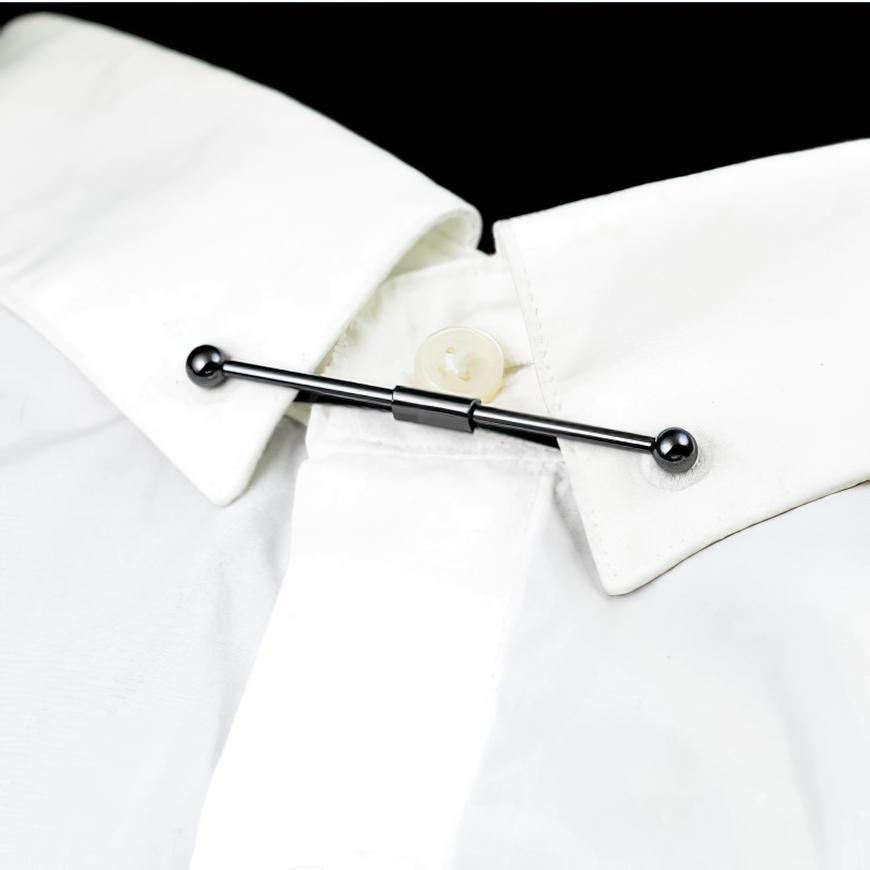 Black Metal Collar Clip Shirt For Men's